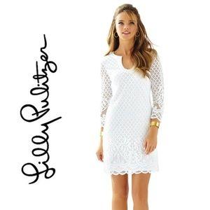 Lilly Pullitzer Mara Scallop Hem White Lace Dress